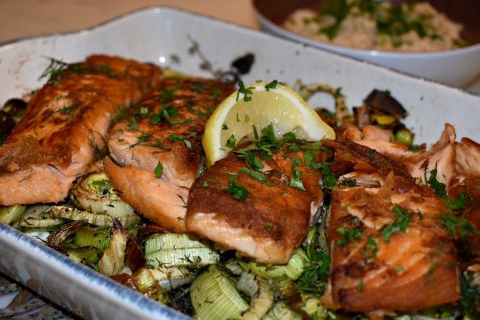 Crispy Salmon over Roasted Leeks and Fennel