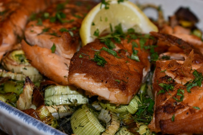 Crispy Salmon of Roasted Fennel and Leeks