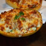 Spaghetti Squash, Spinach and Turkey Lasagna Boats