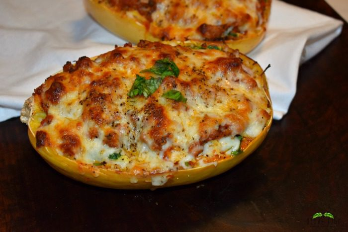 Spaghetti Squash, Spinach and Turkey Lasagna Boats