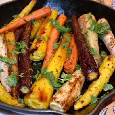 Roasted Rainbow Carrots with Ginger and Cilantro