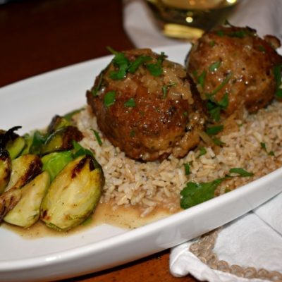 Cider Braised Pork Meatballs with Lemon and Sage
