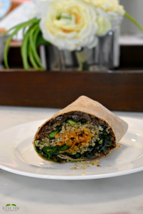 Toasted Quinoa, Sweet Potato, and Kale Wrap