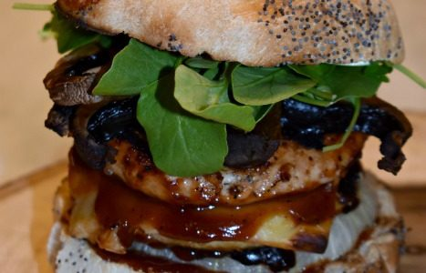 Mega Turkey and Smoked Gruyere BBQ Burger