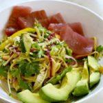 Cold Asian Noodle Salad with Fresh Ahi Tuna