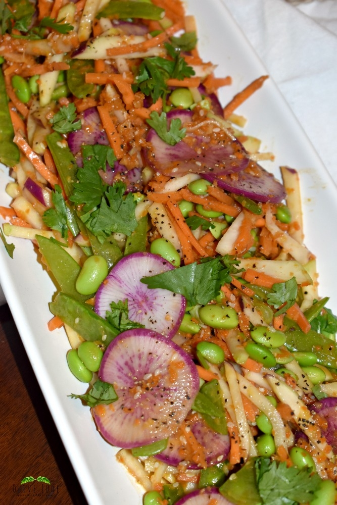 Kohlrabi and Purple Radish Miso Ginger Slaw