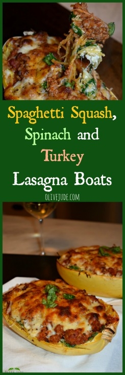 Spaghetti Squash, Spinach and Turkey Lasagna Boats #spaghettisquashrecipes #spaghettisquashlasagna #lasagnaboats #easyspaghettisquashrecipe