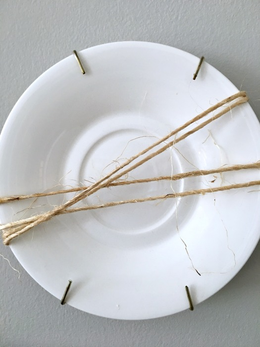 Quick wall art with twine wrapped plates