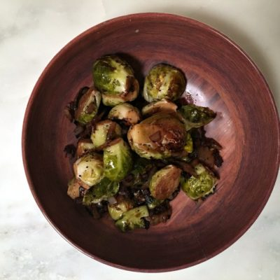Brussel Sprouts with Pancetta and Balsamic Vinegar Reduction