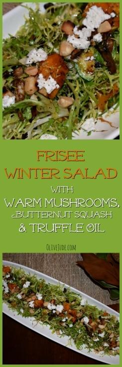 Frisée Salad with Warm Mushrooms and Truffle Oil #Friséesalad #warmsaladrecipe #wintersalad #truffleoil