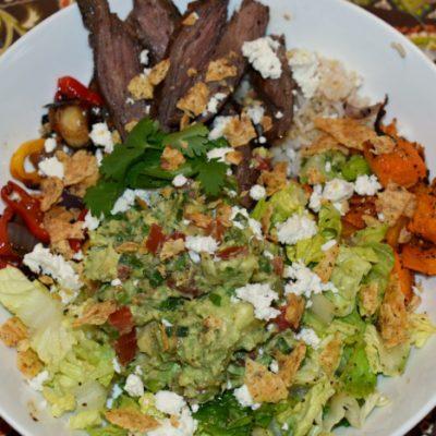 Butternut Squash Fajita Salad with Chunky Guacamole