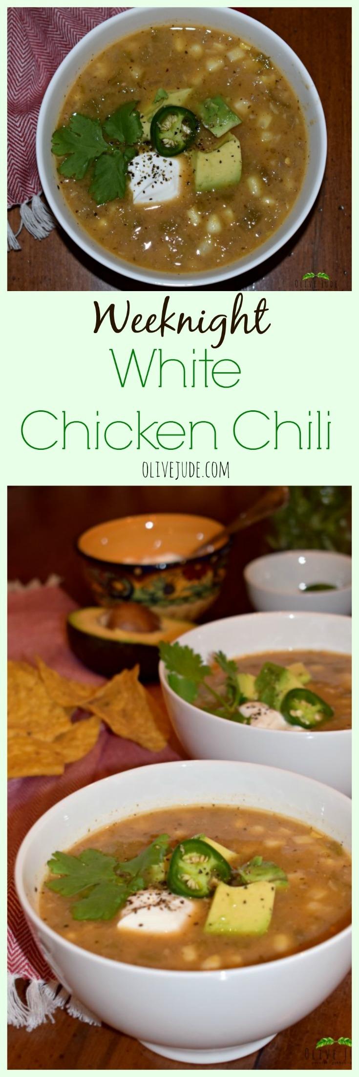 Weeknight White Chicken Chili #whitechili #weeknightsoup #easychilirecipe #chickenchili