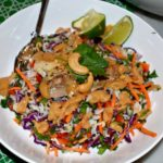 Coconut Confetti Rice Salad with Ginger Peanut Sauce