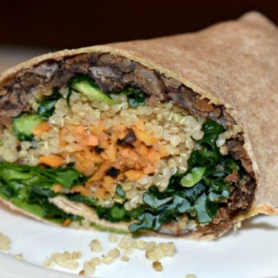 Toasted Quinoa, Sweet Potato, and Kale Wrap #quinoakale #veggiewrap #sweetpotatorecipe #healthywrap