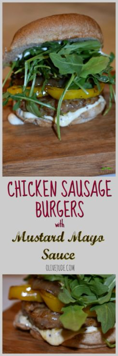 Chicken Sausage Burgers with Mustard Mayo Sauce #mustardmayosauce #sausageburgers #inassauce