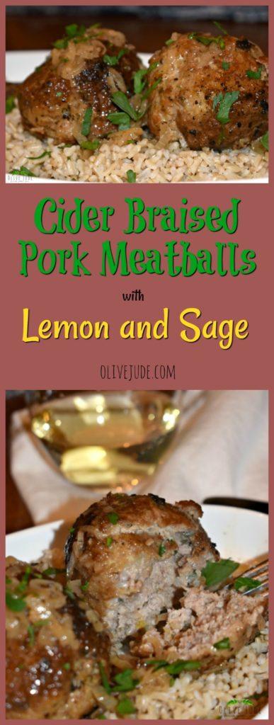 Cider Braised Pork Meatballs with Lemon and Sage #porkmeatballs #lemonandsage #ciderbraisedpork