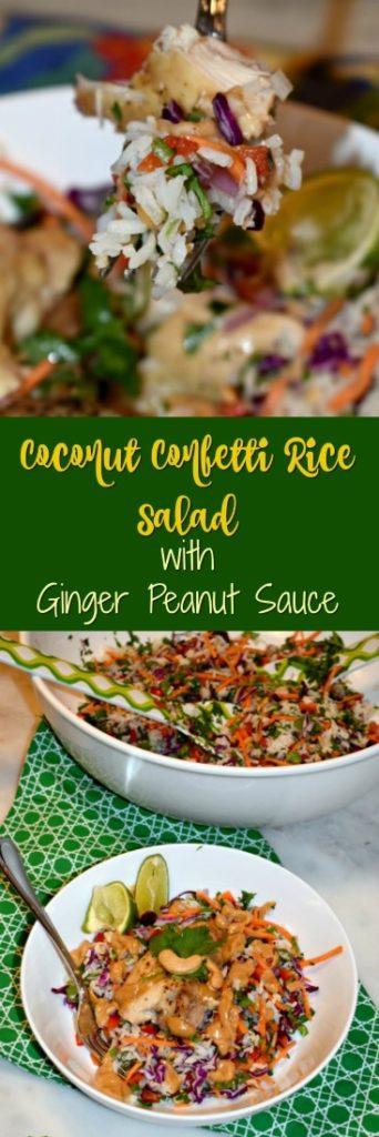 Coconut Confetti Rice Salad with Ginger Peanut Sauce