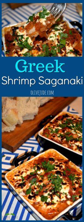 Greek Shrimp Saganaki #shrimpsaganaki #shrimpandtomatoes #bakedshrimpandfeta