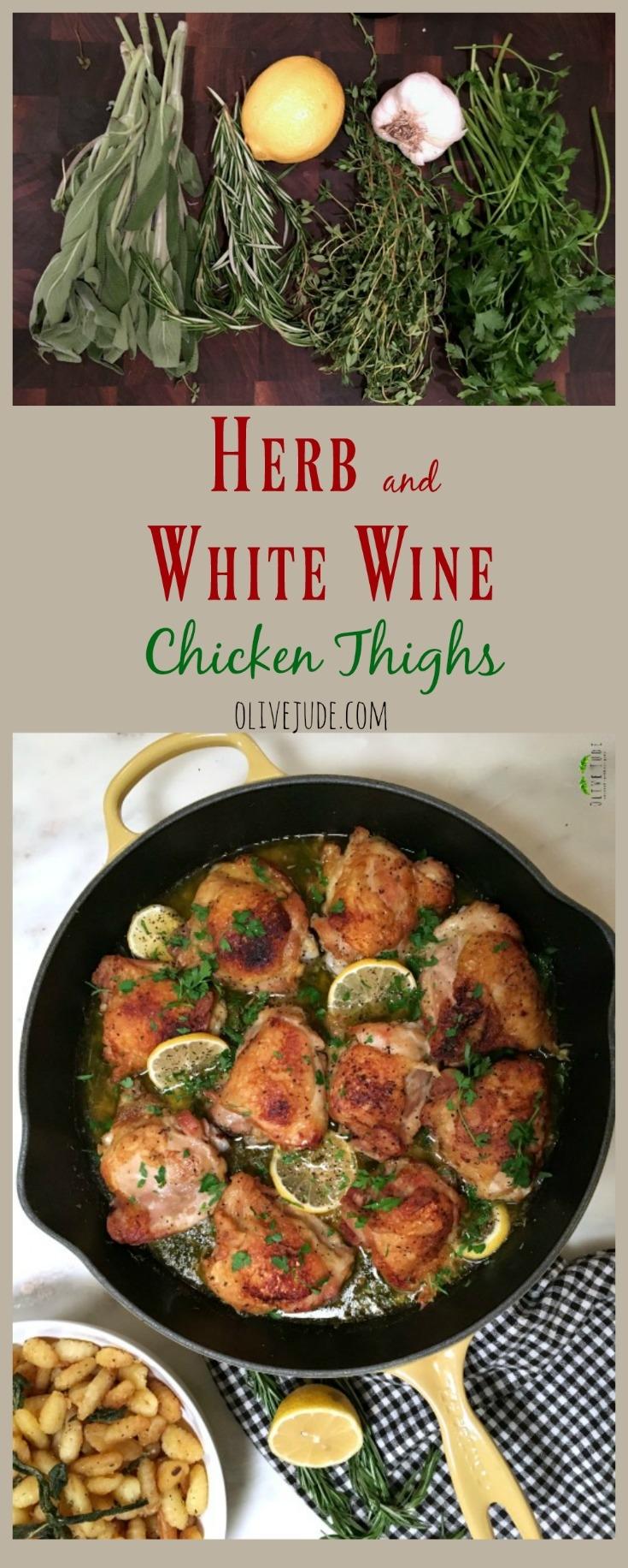 Herb and White Wine Chicken Thighs #herbandwhitewinechicken #skilletchicken #chickenthighrecipe #herbchicken #whitewinechicken