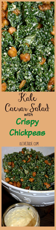 Kale Caesar Salad with Crispy Chickpeas #kalecaesarsalad #caesarsaladidea #crispychickpeas #kalesaladrecipe