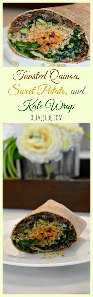 Toasted Quinoa, Sweet Potato, and Kale Wrap #quinoakale #veggiewrap #sweetpotatorecipe #healthywrap