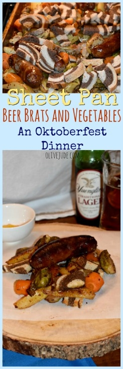 Sheet Pan Beer Brats and Vegetables: An Oktoberfest Dinner #sheetpandinners #brats #okotberfestdinner #oktoberfestbrats #sheetpanbrats #roastedvegetables