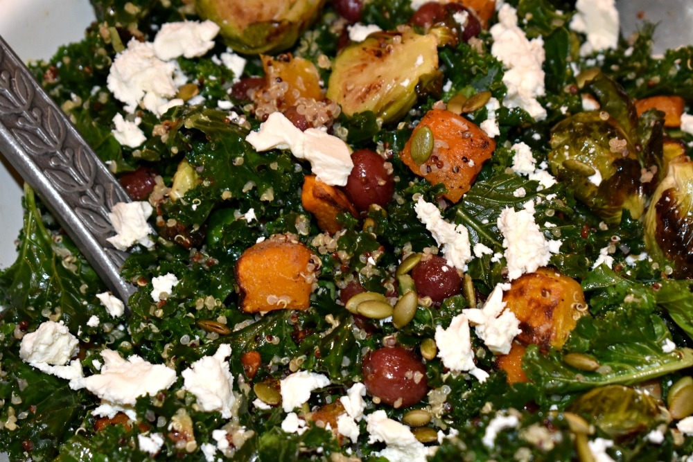 Autumn Kale Salad with Roasted Grapes and Butternut Squash