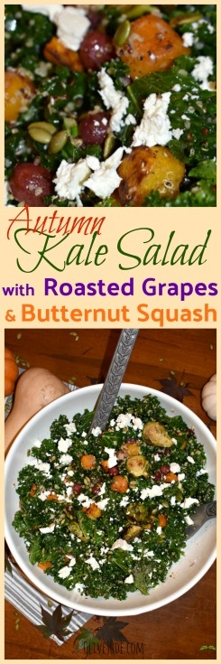 Autumn Kale Salad with Roasted Grapes and Butternut Squash #kalesalad #roastedgrapes #kaleandbutternutsquash #kalequinoasalad #roastedgarlicdressing