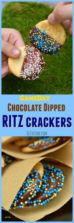 #ad Chocolate Dipped RITZ Crackers for A Grill-Gate Gameday Gathering Chocolate #grillgatinghero #grillgating