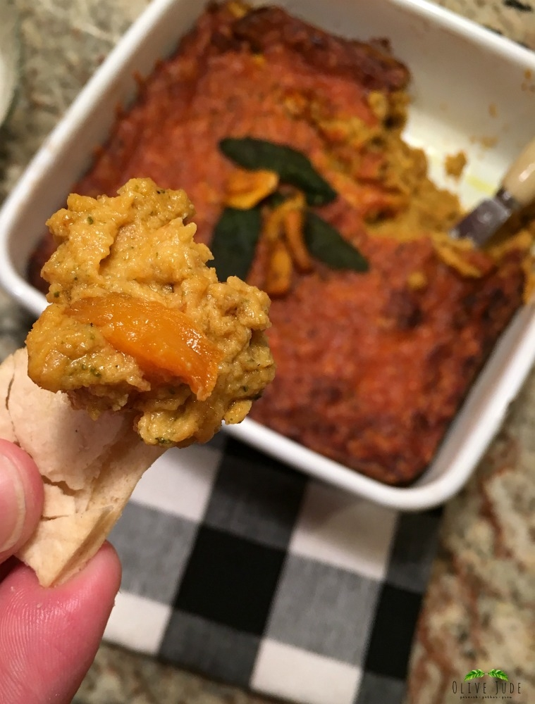 Warm Roasted Butternut Squash Dip with Browned Butter Sage and Caramelized Onions