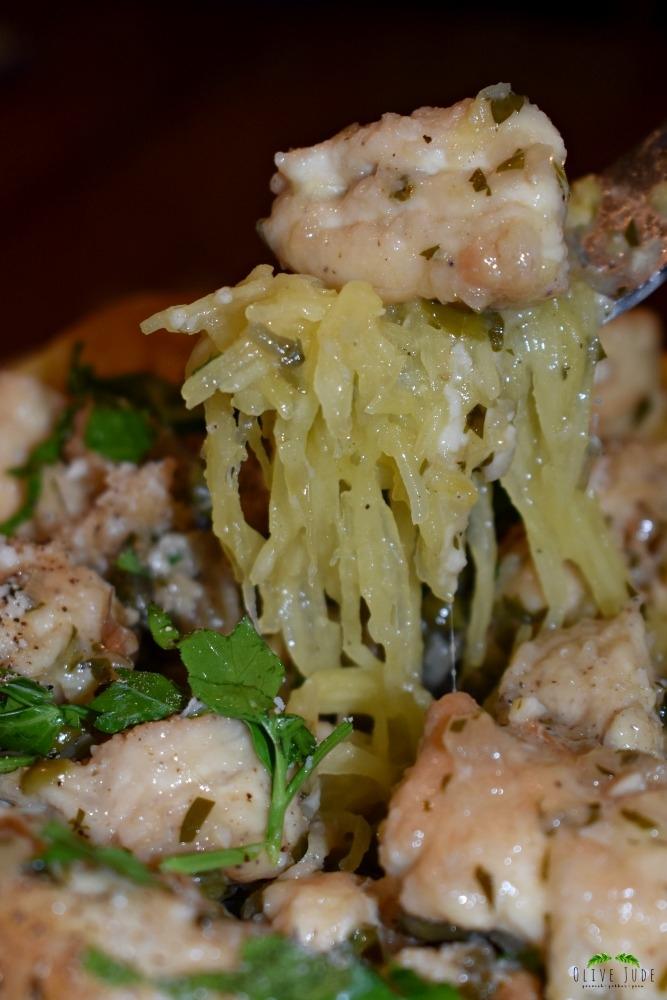 Chicken Piccata Stuffed Spaghetti Squash
