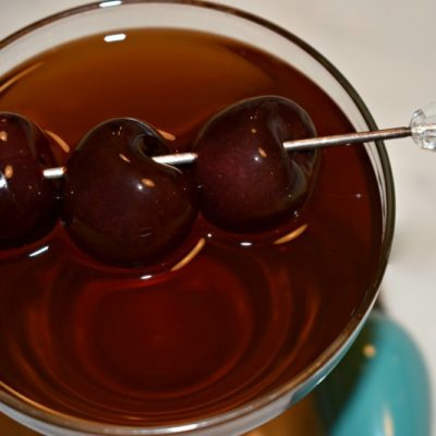 Holiday Manhattan with Bourbon Soaked Cherries