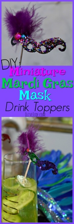 DIY: Miniature Mardi Gras Mask Drink Toppers