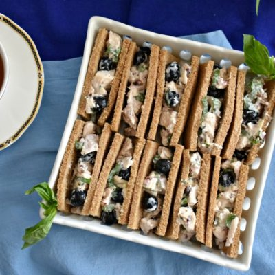 Blueberry Basil Chicken Salad Tea Sandwiches #teasandwich #blueberrybasil #chickensalad