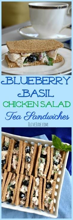 Blueberry Basil Chicken Salad Tea Sandwiches #teasandwich #blueberrybasil #chickensalad