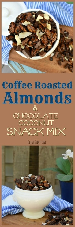 Coffee Roasted Almonds and Chocolate Coconut Snack Mix #coffeeroastedalmonds #sweetsnackmix #chocolatetrailmix