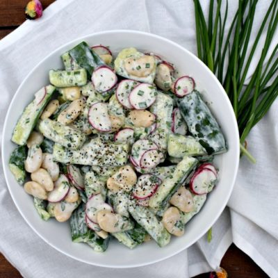 Smashed Cucumber and Butter Bean Salad with Tarragon Buttermilk Dressing