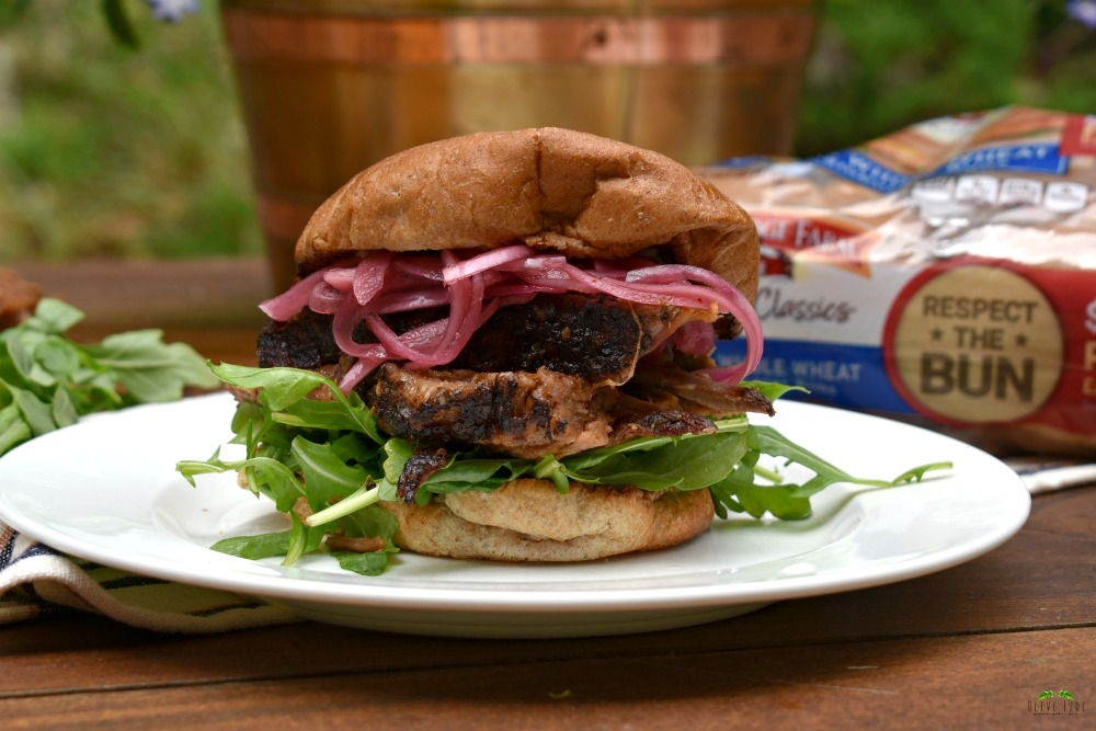 Smoked Brisket Burger with Pickled Onions and Blue Cheese Butter #PepperidgeFarm #RespecttheBun #smokedbrisket