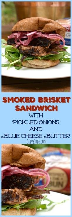 Smoked Brisket Burger with Pickled Onions and Blue Cheese Butter #PepperidgeFarm #RespecttheBun #smokedbrisketsandwich #ad