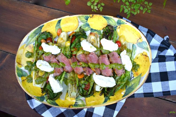 Charred Romaine and Steak Salad with Whipped Burrata and Basil Oil