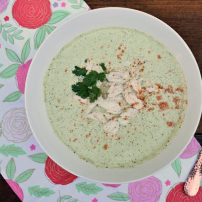 Chilled Cucumber and Cilantro Soup with Lump Crab