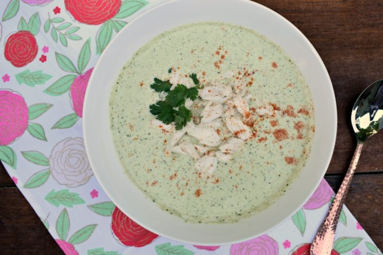 Chilled Cucumber and Cilantro Soup with Lump Crab #chilledsoup #crabsoup #cucumbersoup