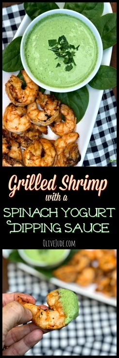 Grilled Shrimp with a Spinach Yogurt Dipping Sauce #grilledshrimp #yogurtdippingsauce #shrimpanddip