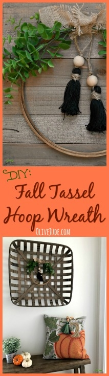 DIY: Fall Tassel Hoop Wreath #hoopwreath #tasselwreath #easyfallwreath #neutralwreath