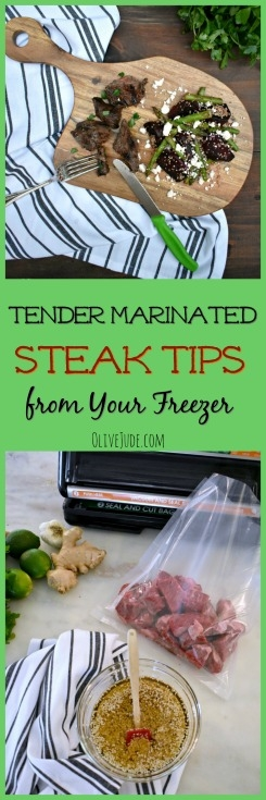 Tender Marinated Steak Tips from Your Freezer @foodsaver #SealToSavor #ad #FoodSaverrecipes #steaktips #steakmarinades