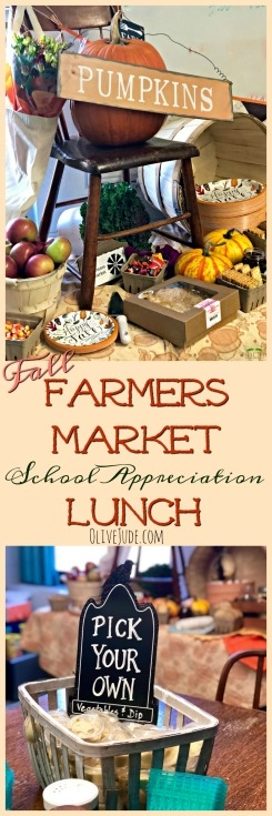 Fall Farmers Market School Appreciation Lunch #farmersmarketlunch #farmersmarketparty #teacherappreciationlunch #fallpartyideas #harvestparty