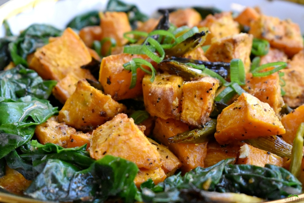 Ginger Roasted Sweet Potatoes and Coconut Swiss Chard #roastedsweetpotatorecipe #swisschard #gingerandcoconut #gingersweetpotoes