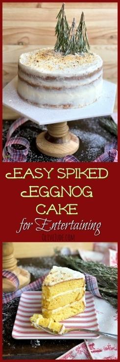 Easy Spiked Eggnog Cake for Entertaining #eggnogcake #spikedeggnogdessert #eggnogdessert #cakemixcakes #christmascake