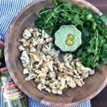 Cilantro Chimichurri Aioli Dip with Roasted Cauliflower Bites #ad #StepUpYourSnackGame #Mezzetta #chimichurri #aioli #cilantrochimchurri #chimichurriaioli #roastedcauliflower