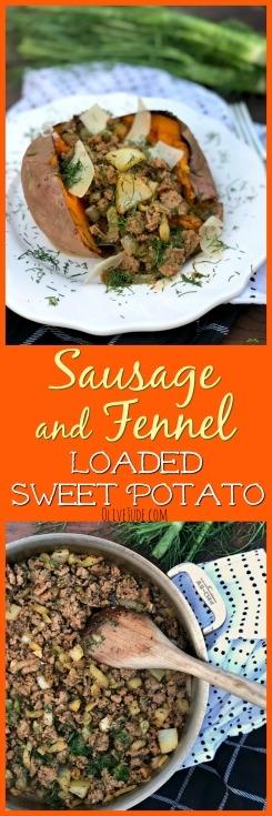 Sausage and Fennel Loaded Sweet Potato #bakedsweetpotato #loadedsweetpotato #sausageandfennel #sausageandsweetpotato #comfortfood